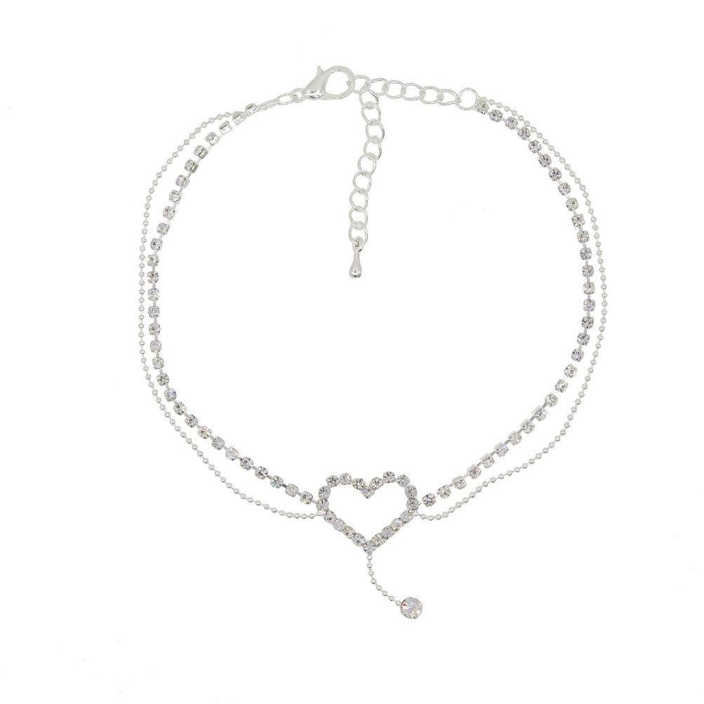 Romantic Heart Crystal Tassels Anklet Globalmate GLOBALMATE5