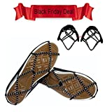 Pair of Portable Anti-Slip Ice Grips Gripper Snow Winter Traction Device Cleats Crampon Slip on Lightweight Steel Coils, Traction Device Footwear for Skating Climbing Fishing Walking Jogging Hiking on Snow and Ice