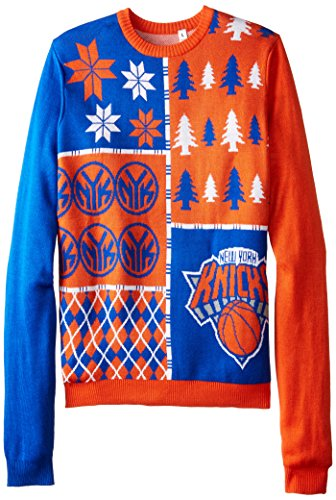 KLEW NBA New York Knicks Busy Block Ugly Sweater, Large, Blu