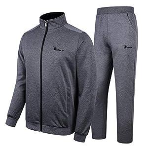 YSENTO Men's Activewear Tracksuits 2 Pieces Jacket & Pants Full Zip Jogging Sweatsuit Sportswear