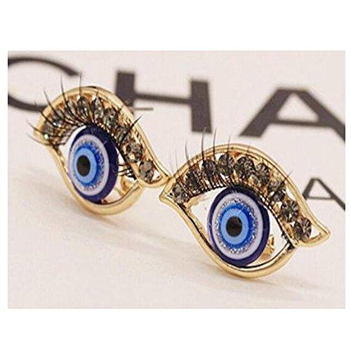 Darkey Wang Woman Fashion Jewelry Diamond Personalized Alternative Creative Eyelashes Earrings (Gold)