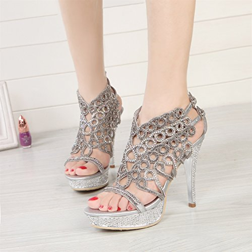 Party Chain Sparkling Glitter Women's Summer Crystal for Buckle Toe Boots Silver Leather Shoes Sandals Spring Dress HUAN Open Rhinestone Fashion pwfU1