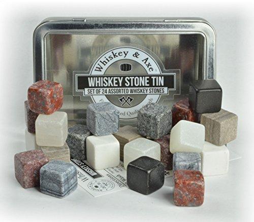 Whiskey & Axe - Premium Set of 24 Whiskey Stones with Fantastic Storage Tin by Whiskey & Axe
