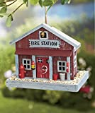 Fire Station Themed Country House Wooden Wild Bird Feeder Tree Hanging Yard Decor