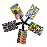 Luggage Tag 5 Different Pattern Rubber ID Tags Business Card Holder for Luggage Baggage Travel Identifier,Suitcase Label