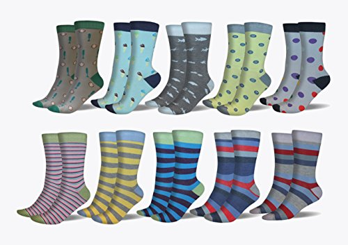 3KB Men's Dress Socks (10 Pairs Per Pack) - Variety of Patterns and Sizes (12-15, Summer Collection) -