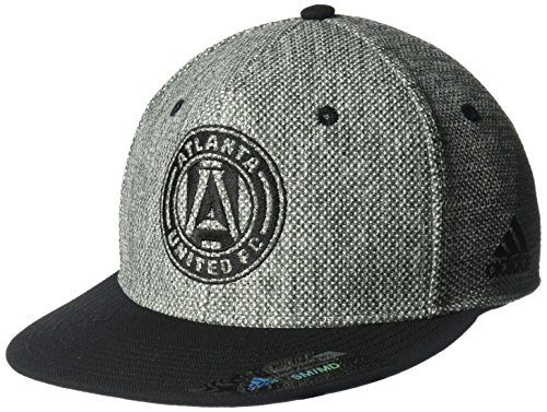 fan products of MLS Atlanta United FC Men's Heathered Gray Fabric Flat Visor Flex Hat, Small/Medium, Gray