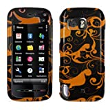 Nokia 5800 XpressMusic Hard Plastic Snap on Cover Gold/Black Floral Swirls T-Mobile