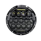 Mictuning 7 Inch Round Headlight 75W Hi/Lo Beam DRL for Jeep Wrangler JK/TJ/LJ 07-15 Harley and Hummer (1PC, Black)