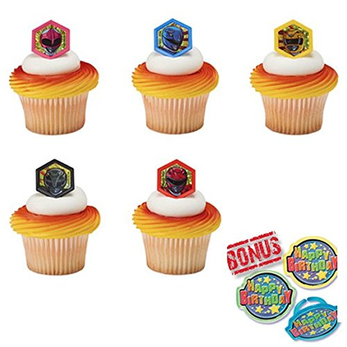Power Rangers Morphinominal Cupcake Toppers and Bonus Birthday Ring - 25 pieces (Power Rangers Cake Decorations)