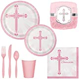 Girl First Communion Party Supplies for 18 Guests: Plates, Cups, Napkins, Silverware & Balloons
