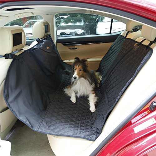 Pet Seat Covers, PYRUS Waterproof Dog Car Seat Protector Non Slip Backing Seat Covers Pet hammock for Cars Trucks & SUV (Black)
