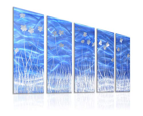 Unique Metal Wall Sculpture, Metal Wall Art Silver Flower in Clusters Vivid Blue Background, Abstract Modern Contemporary Décor, Aluminum Blue Artwork, Indoor Outdoor Decoration, 5 Panels