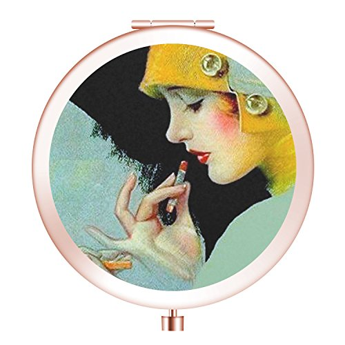 Jodisy Vanity Mirror, Round Foldable Double Side Makeup Mirror, Mini Metal Cosmetic Mirror for Purse Pocket and Travel - Art Deco Compact