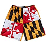 Maryland Flag Quads Lacrosse Shorts, Red, White, Gold & Black, Adult Small