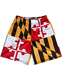 Maryland Flag Quads Lacrosse Shorts, Red, White, Gold & Black, Adult Large