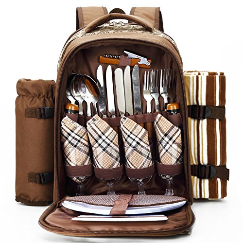 Apollowalker Picnic Backpack for 4 with Cooler Compartment, Wine Holder, Blanket, Plates and Cutlery Set