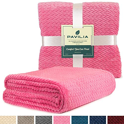 PAVILIA Luxury Soft Plush Pink Throw Blanket for Sofa, Couch | Silky Velvet Fleece Chevron Pattern Throw | Cozy Lightweight Microfiber, Reversible Blanket | All Season Use | 50 x 60 Inches