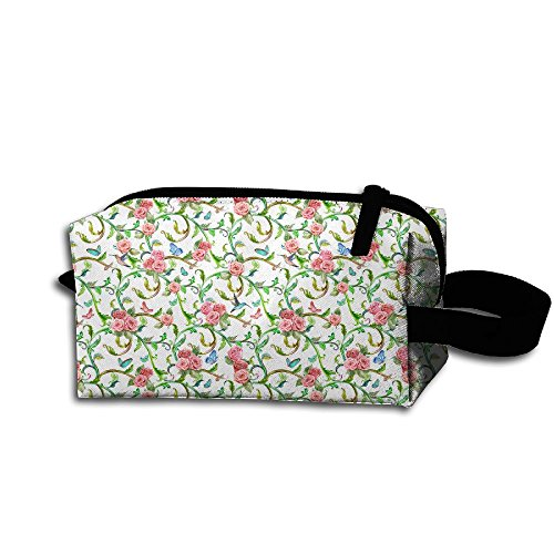 Travel Cosmetic Pouch Paisley Watercolor Floral Flowers Bird