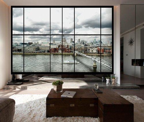 Fototapete blick aus dem fenster  AWM-C22 Fenster Mit Blick auf die Millennium Bridge in St Paul ...