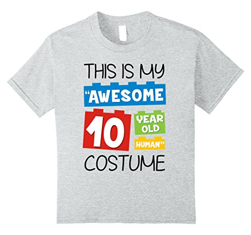 Kids 'Awesome 10 Year old Human' Halloween Costume T-shirt 10 Heather Grey