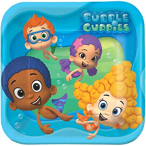 Bubbly-rrific Bubble Guppies Square Birthday Party Paper Plates Disposable Tableware and Dishware, 9