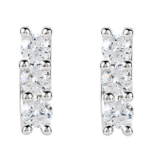Boucles d'oreilles multi-pierre avec diamants Rond Or blanc-585/1000( 1.53 Ct, F Couleur, VS2 Clarté)