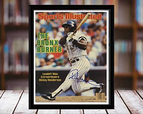 Autographs Henderson (Rickey Henderson Sports Illustrated Autograph Replica Print - Bronx Burner - 7/28/86-8x10 Desktop Framed Print)