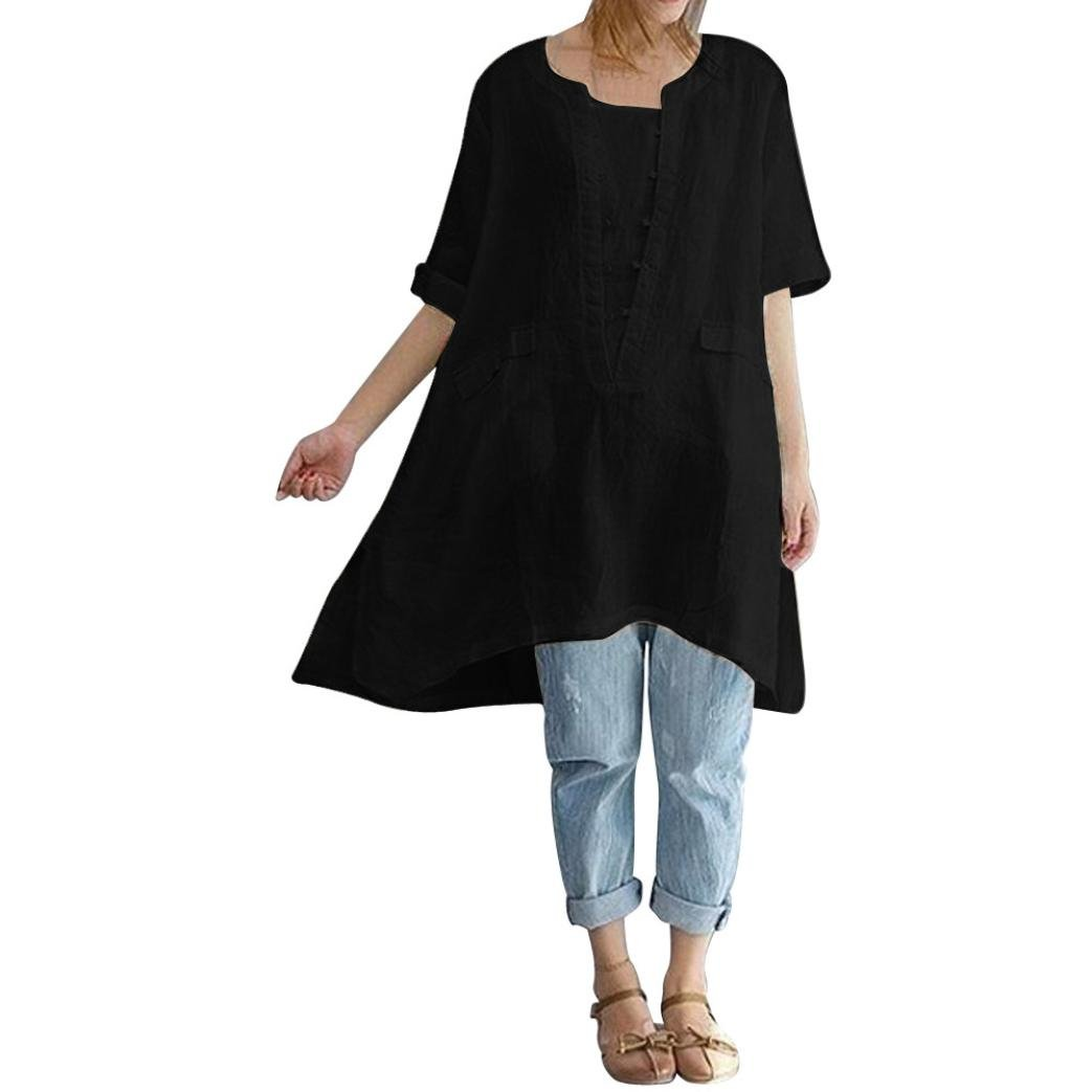 Misaky Plus Size Women's Irregular Fashion Loose Short Sleeved Linen Shirts Loose Long Tunic Tops for Leggings (3XL, Black)