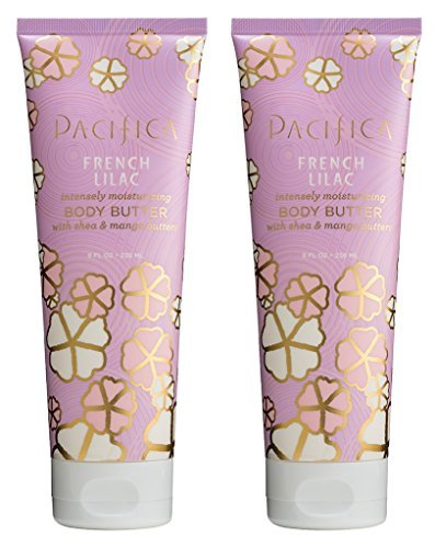 Pacifica French Lilac Body Butter (Pack of 2) with Shea Butter, Jojoba Seed Oil, Cocoa Butter, Flax Seed Oil, Kukui Nut Oil and Vitamin E, 100% Vegan and Cruelty-Free, 8 oz - Lilac Shea Butter
