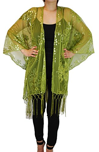 (Mother of The Bride Beaded Evening Fashion Shawl Top Jacket Poncho Cover (Lime))