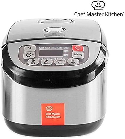 Chef Master Kitchen inox Cook Cocina Robot 1,8 L – 900 W – 12 programas – Arroz, rápida lkochen, leche, hornear Papilla yogur, Recalentar, freído., pasta, Vapor, Rehogar, Sopa Y manual: Amazon.es: Hogar