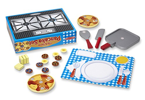 Melissa & Doug Flip and Serve Pancake Set (19 pcs) - Wooden Breakfast Play Food
