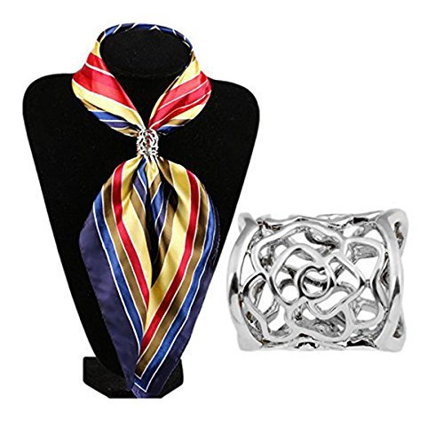 Rosenice Hollow Rose Scarf Ring Buckle Slide Tube Scarf Jewelry (Scarf Ring)