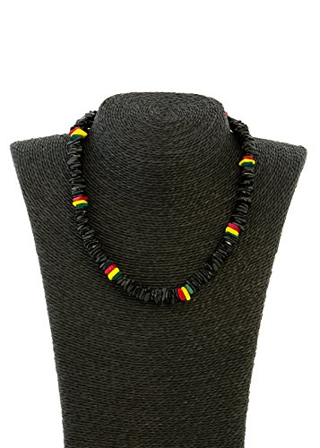 dkhawaiian collections Women's Native Treasure Polished Chips Puka Shell Necklace Tropical Jewelry (Black/Rasta)