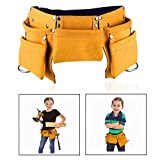 OFKPO Children's Leather Tool Belt, Kids Leather Working Tool Bag Child's Tool Pouch with Adjustable Belt for Costumes Dress Up Role Play (Brown, Size:17*3*7inches)
