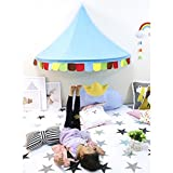 ZHENYU Bed Canopy,Kid Canopy Tent Corner Teepee Tent Reading Canopy,Half-Room Design Indian Style Castle Play Tent Hanging House for Baby Toddlers Kids Reading Play Tents (Blue)