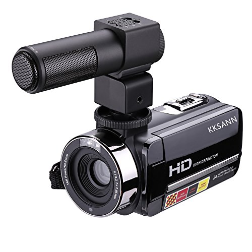 KKSANN HD 1080P IR Night Vision Infrared Digital Camera,301STR 3″ LCD Recorder with External Microphone and Touch Screen DV Cam,Humanized 270° rotating design can fully meet the shoot requirements