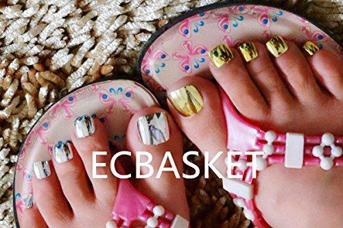 60 pcs Metallic Toe Nail Tips Acrylic False Feet Nails 4 Color Options in SAB nails Slivery