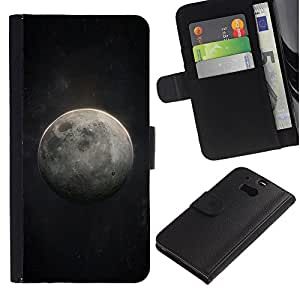 KingStore / Leather Etui en cuir / HTC One M8 / Luna Arte Cosmos cielo nocturno Universo