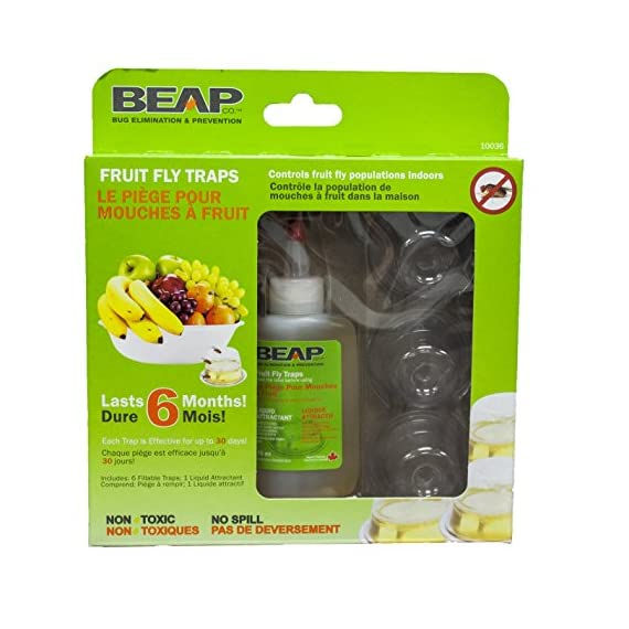 BEAPCO 10036 Prefilled Fruit Fly Traps, 6-Pack, Red 2 <p>BEAPCO Pre-filled Fruit Fly Traps work to attract and trap unwanted fruit flies. This fruit fly trap utilizes a non-toxic, food grade attractant that bring the fruit flies into our trap more effectively. With the Pre-filled pod you don't have to worry about any mess. You just poke a hole with a pen or similar then set it out to do the work. Our Pods are designed to last up to 30 days and when your done with them just toss them into the recycling bin as they are completely safe and spill proof. NEW and IMPROVED Formula PRE-FILLED- 6 Pre-filled traps per pack LONG LASTING- Each trap lasts for 30 day EASY TO USE- Pierce with a pen and set out to trap the flies LOCATION- Discrete and most effective when placed near the problem areas and left untouched NO MAINTENANCE- Dispose in recycle bin after 30 days or when the trap is full of flies NON-TOXIC- Safe around food, pets and children EFFECTIVE- Proven to work</p>