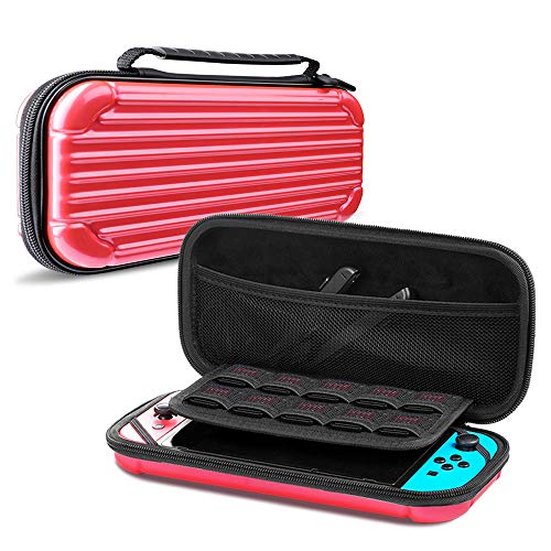 CAFELE Carrying Case for Nintendo Switch, Deluxe Hard Shell Travel Carry Case Portable Pouch Bag for Nintendo Switch Console & Accessories [Waterproof] [Dual Protection] [Large Capacity] – Red