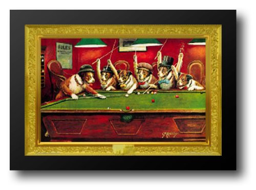 Dogs Playing Pool 40x28 Framed Art Print by Coolidge, Cassius (Coolidge Dogs Playing Pool)