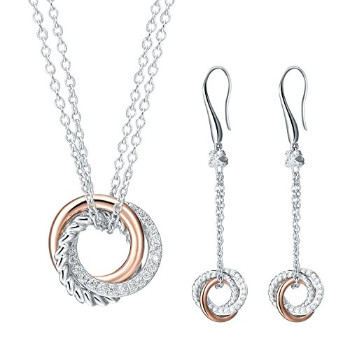 SILVERAGE SA Two Tone Twisted Circle Zircon Sterling Silver Pendant Necklace and Dangle Earrings ()