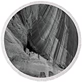 Pixels Round Beach Towel With Tassels featuring ''White House Ruins Canyon De Chelly B W'' by Steve Gadomski
