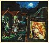 1934 Print Children Dog Nightgown Cabin American Flag Community Tent Art Wagon - Original Color Print