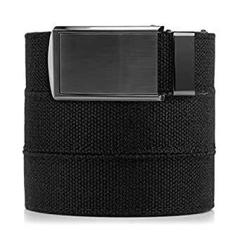 """SlideBelts Men's Canvas Belt without Holes - Gunmetal Buckle / Black Canvas (Trim-to-fit: Up to 48"""" Waist)"""