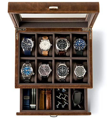 TAWBURY Leather Watch Box Organizer for Men – Luxury 8 Slot Watch Case with Drawer & Glass Display for Large Mens Wrist Watches | Brown Watchbox with Valet Tray Holder for Jewelry & Sunglasses Storage