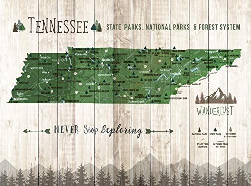 Tennessee State Parks, State Parks of Tennessee, Push Pin Map, Foam Mounted, Pins Included, Various Sizes