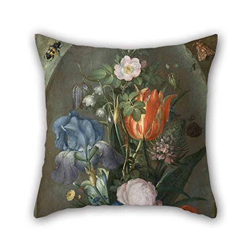 Throw Cushion Covers 20 X 20 Inches / 50 By 50 Cm(both Sides) Nice Choice For Bar,christmas,club,bar Seat,deck Chair,father Oil Painting Roelant Saverij - Flower Still Life With Two Lizards (Metallic Lizard Print)